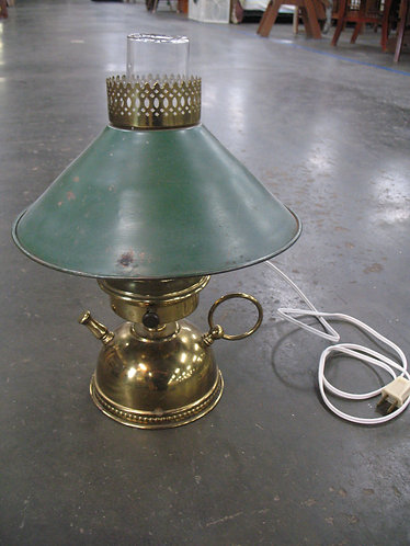 Vintage Brass Teapot Lamp with Metal Shade