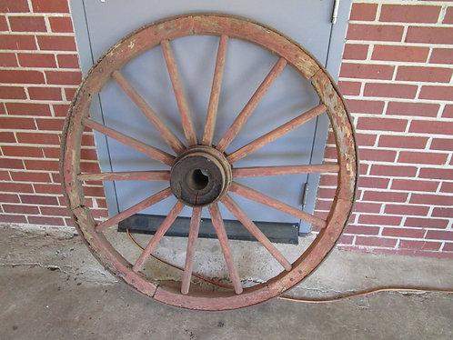 "Antique Wood and Metal 46"" Diameter 14 Spoke Wagon Carriage Wheel"
