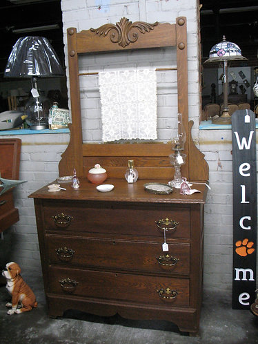 Vintage Oak Three Drawer Wash Stand Dresser