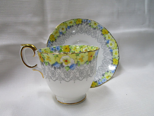 Crown Staffordshire Teacup and Saucer with Yellow flowers and Gray Pattern