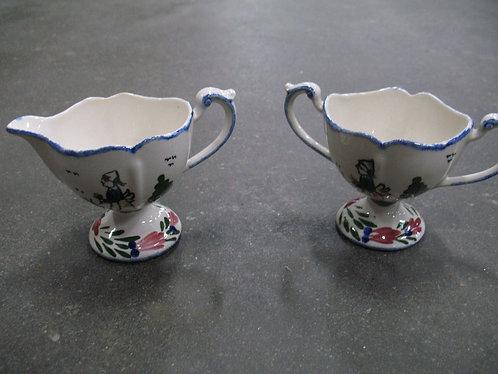 Vintage French Pheasant Blue Ridge Southern Potteries Creamer and Sugar Set