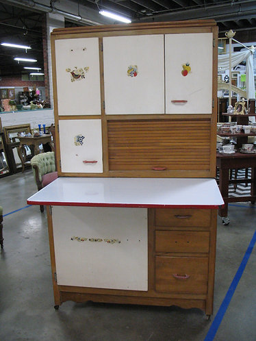 Vintage Hoosier Cabinet with Pull Out Porcelain Top and Bread Box