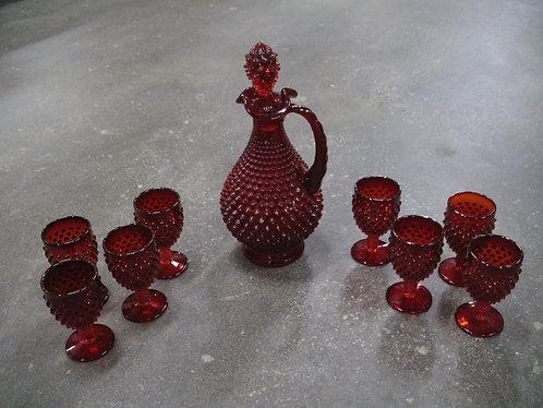 Vintage Fenton Amberina Hobnail Decor Decanter and Eight Pedestal Goblets