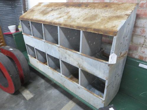 Primitive 10 Hole Galvanized Metal Nesting Box