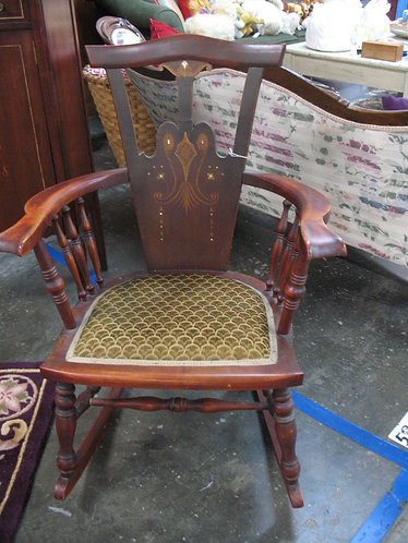 Vintage Mother Of Pearl Inlay Upholstered Seat Rocking Chair