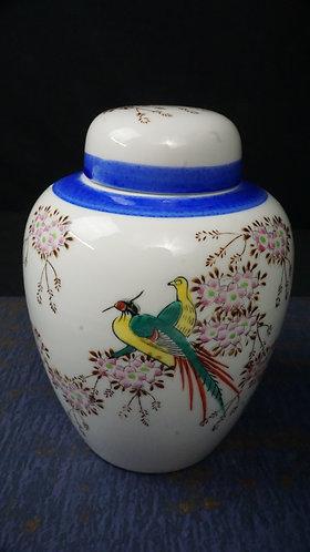 Hand painted Porcelain Ginger Jar, Dogwood, Pheasants