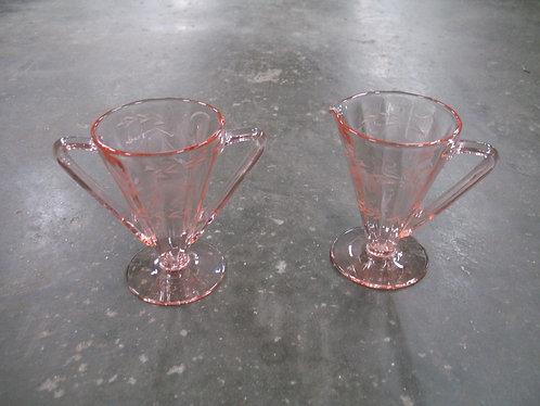 Vintage Pink Depression Etched Glass Creamer and Sugar Set