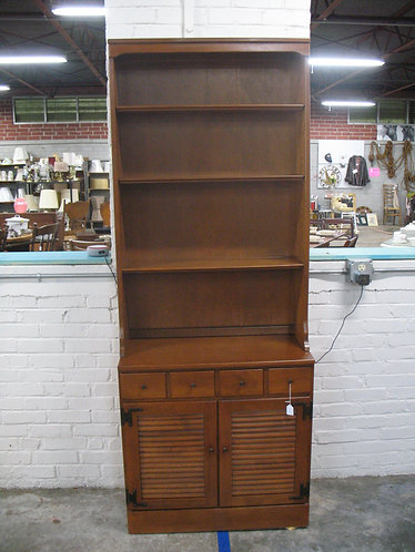 Vintage Ethan Allen Nutmeg Maple Shutter Two Piece Bookcase Cabinet