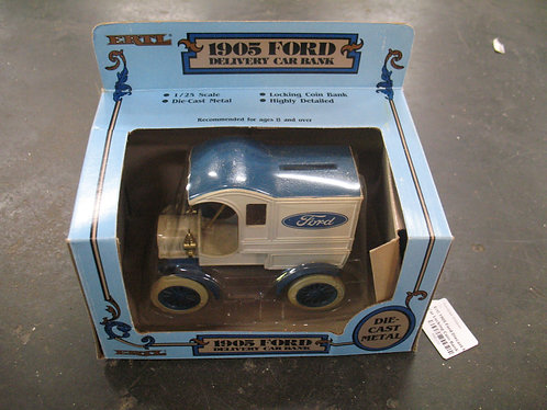 Ertl 1/25 Scale 1905 Ford Diecast Metal Delivery Car Locking Coin Bank