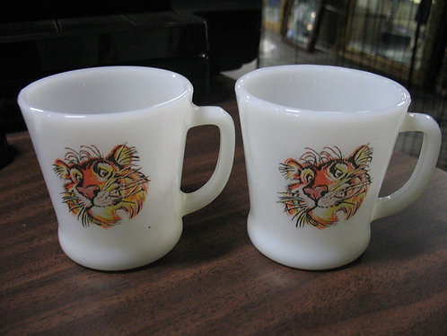 Vintage Fire King Milk Glass Exxon Esso Tiger Mugs Set of 2