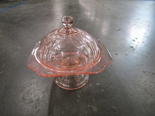Pink Depression Glass Covered Pedestal