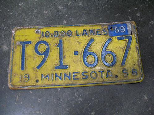 1958 Minnesota 10,000 Lakes Plate T91-667 with '59 Tag