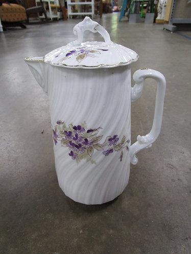 Vintage White Porcelain Teapot with Purple Floral Pattern