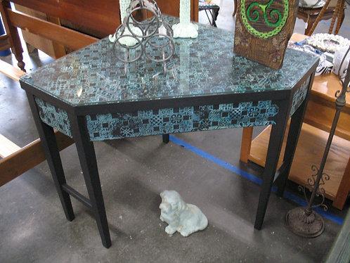 Vintage Handpainted & Mosaic Stamped Corner Wood Desk Table