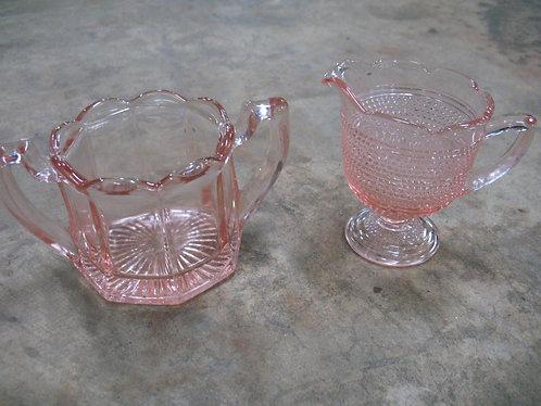 Vintage Pink Glass Creamer & Sugar