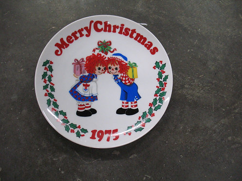 1975 Schmid Raggedy Ann & Andy Merry Christmas Collector Plate