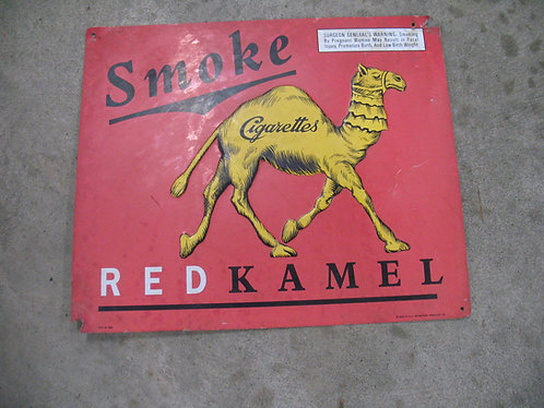 """1996 R.J. Reynolds """"Smoke Red Kamel"""" Metal Sign"""