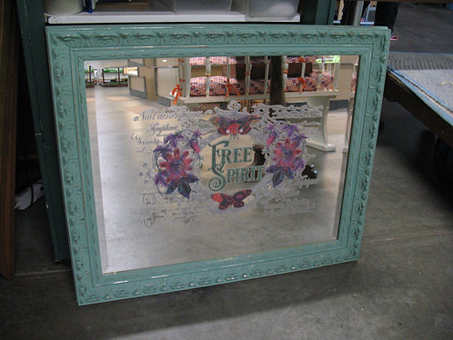 Vintage Beveled Mirror with Free Spirit Butterfly Transfer