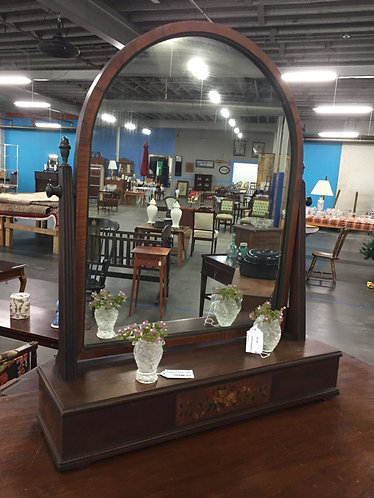 Vintage Mahogany Shaving Mirror with Hand Painted Base