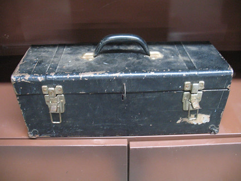 Vintage Metal Tool Box with Lift Out Tray