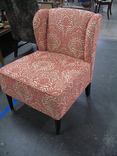 Modern Boho Orange/Cream Wingback Slipper Chair