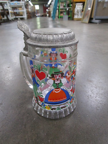 Vintage West German Clear Glass Young Lovers Stein with Pewter Lid