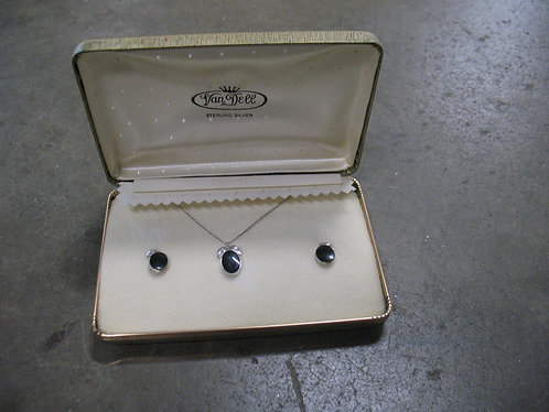 Vintage Van Dell Sterling Silver & Onyx Necklace and Screw Back Earrings