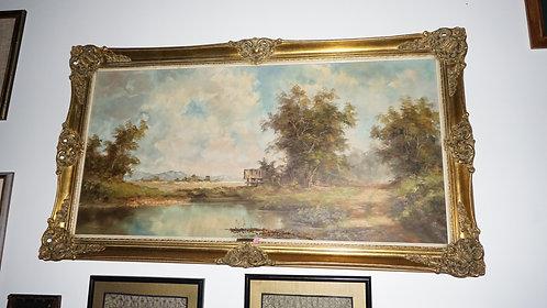 Art, O. Berger, Oil on Canvas Original, Pastoral Scene