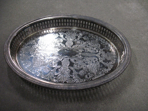 Vintage Newport Gorham Etched Oval Silver Plate Gallery Tray