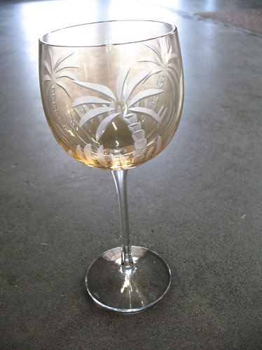 Lenox British Colonial Etched Palm Tree Crystal Wine Glass