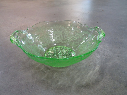Depression Glass Lancaster Debbra Vaseline Glass Green Double Handled Bowl