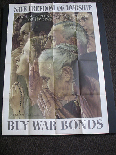 Original Issue 1943 WWII Norman Rockwell Save Freedom Of Worship War Poster