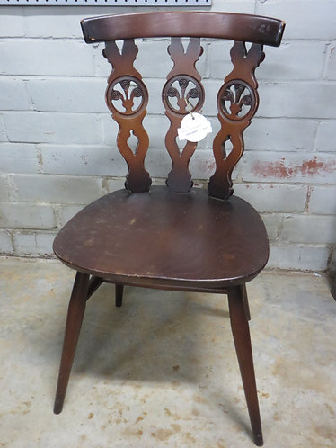 Vintage Wooden Brown Chair with intricate tree design on back