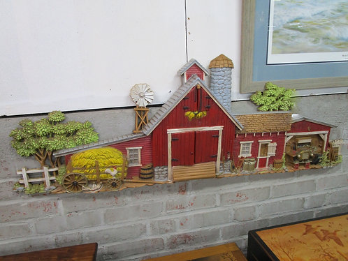 1974 Burwood Molded Plastic Farmhouse Scene Wall Decor
