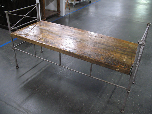 Iron Bench with Handmade Distressed Wood Seat
