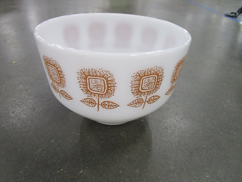 Vintage Federal Glass Milk Glass Brown Sunflowers Mixing Bowl
