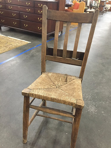 Vintage Rush Seat Chair with Back Storage