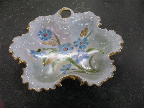 Vintage Handpainted Artist Signed Floral Trinket Decor Dish