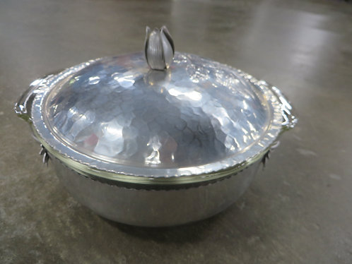 Vintage Aluminum Hammered Floral Bowl with Fire King Glass Insert Dish