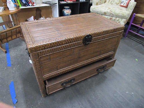 Wicker Woven Hinged Top One Drawer Storage Chest Trunk