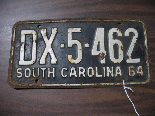 1964 South Carolina Automobile License Plate