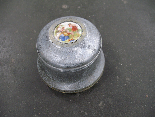 Vintage Aluminum Musical Powder Jar with Top Inset