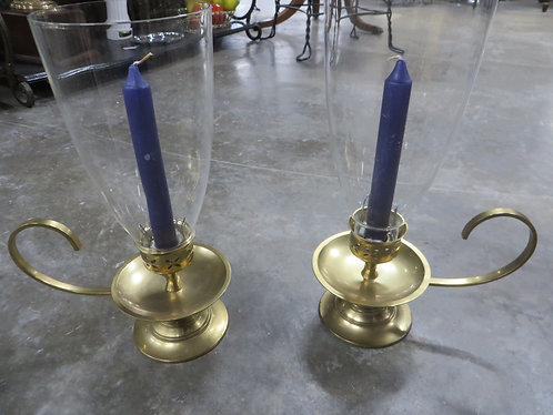 Vintage Brass Chambersticks with Glass Shades Set of 2