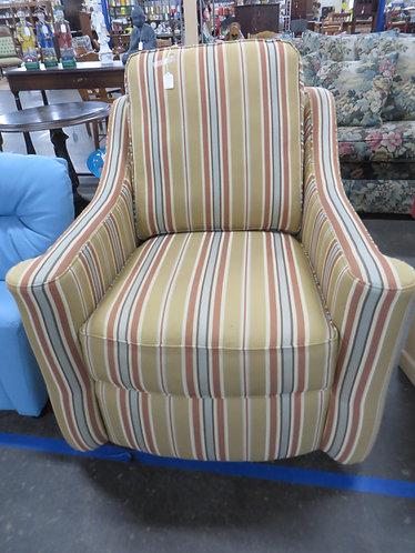 Vintage Hancock & Moore Striped Swivel Upholstered Chair