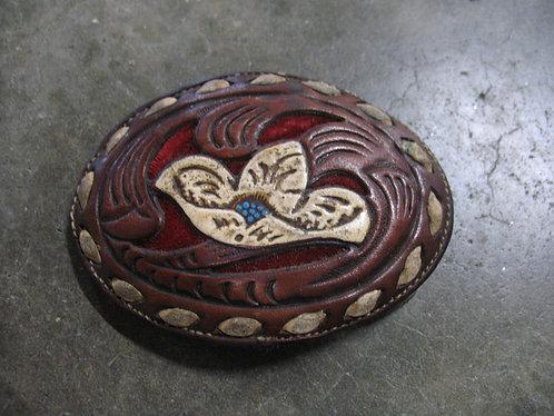 Vintage Nocona Leather Floral Belt Buckle