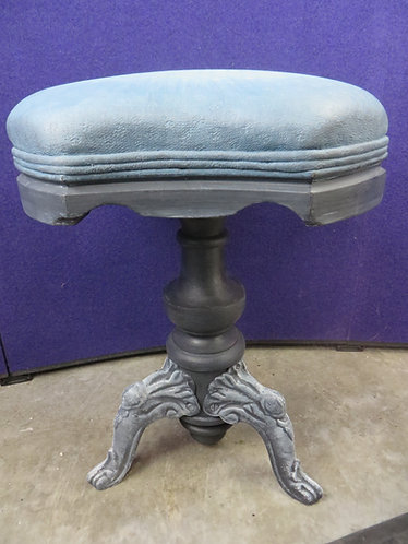 Antique Victorian Organ Stool with Cast Metal Legs