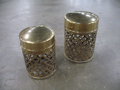 Vintage Made in India Brass Filigree Nesting Canisters