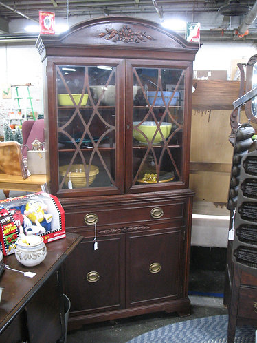 Vintage Arch Top China Display Cabinet
