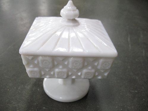 Vintage Westmoreland Old Quilt Milk Glass Pedestal Candy Dish