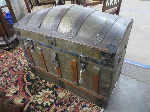 Antique Embossed Metal Steamer Trunk